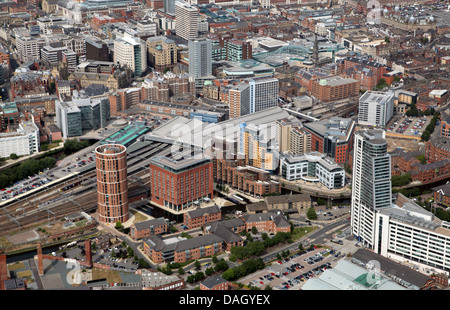 aerial view of Leeds City centre from the south west looking over the River Aire toward Leeds City Station - Stock Photo