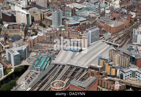 aerial view of Leeds City Station - Stock Photo