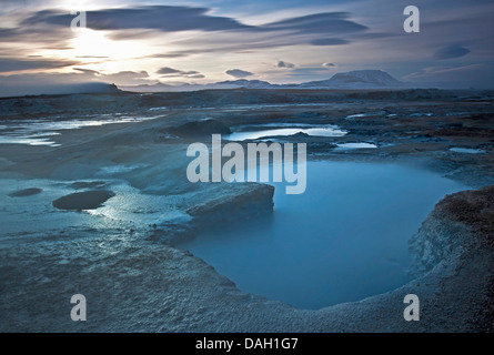 mud pots in geothermal field Namaskard, Iceland, Namaskard - Stock Photo