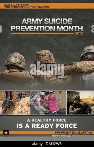 An illustration shows a suicide prevention awareness campaign poster promoting Army Suicide Prevention Month at - Stock Photo