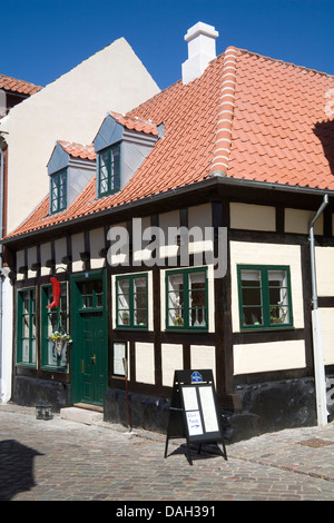 Ebeltoft Denmark EU Restaurant Stovlen on Adelgard a cobbled street in town centre preserved old market and old - Stock Photo