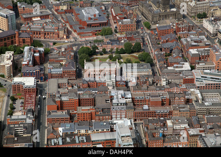 aerial view of Leeds City centre looking north across York Place, Park Place and St Pauls Street towards Park Square - Stock Photo