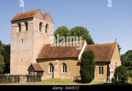 Bucks - Chiltern Hills - Fingest village - Norman church - St Bartholomew -unusual famous tower - saddle back roof - Stock Photo