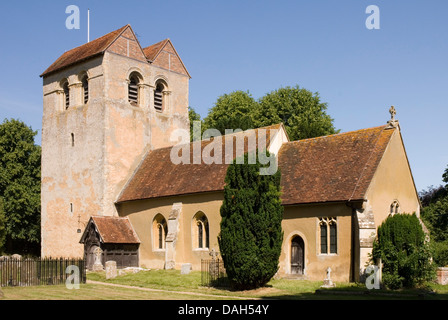 Bucks - Chiltern Hills - Fingest village - Norman church - St Bartholomew  - unusual  famous tower - saddle back - Stock Photo