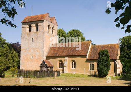Bucks - Chiltern Hills - Fingest village - Norman church of St Bartholomew  - famous saddle back tower roof - summer - Stock Photo