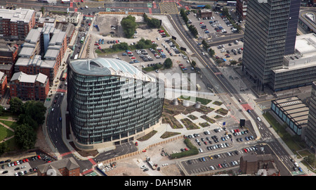 aerial view of One Angel Square in Manchester city centre, home of the CoOperative Group, Co-op HQ - Stock Photo