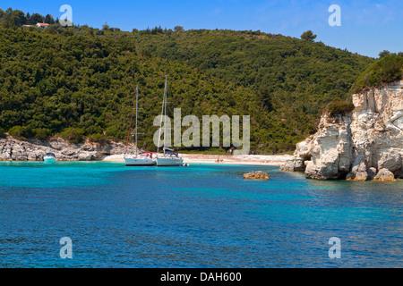 Voutoumi bay at Antipaxos island in Greece. Ionian sea - Stock Photo