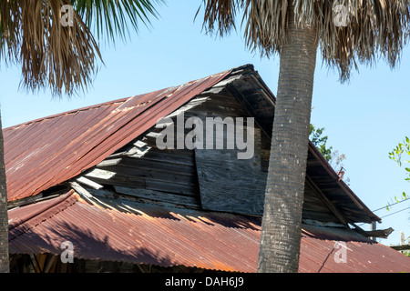 An old rundown wood frame house with rusting metal roof for Wood frame house in florida