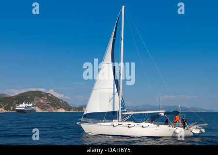 Sailboat near Parga town in Greece - Stock Photo