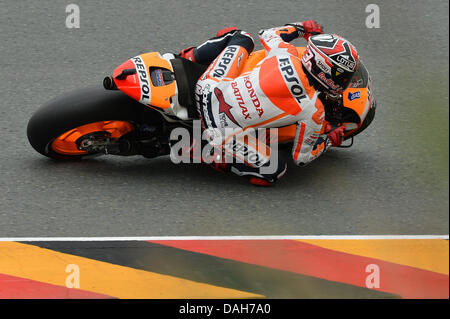 Oberlungwitz, Germany. 13th july 2013. Marc Marquez (Repsol Honda Team) during the qualifying sessions at Sachsenring - Stock Photo