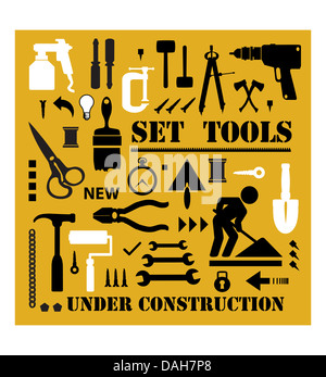 A set of tools silhouettes in black on a yellow background and black - Stock Photo