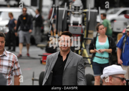 Dedham, Massachusetts. Robert Downey Jr walking on the set of 'The Judge' in Dedham, Massachusetts, on July 12, - Stock Photo