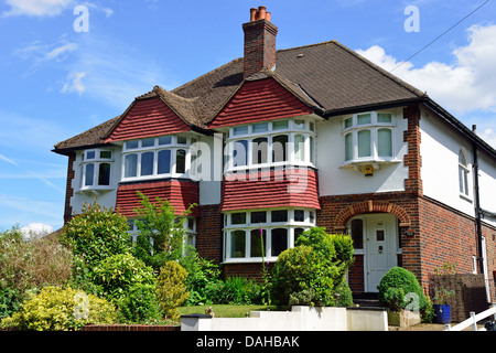 Semi-detached houses, Manor Road, Walton-on-Thames, Surrey, England, United Kingdom - Stock Photo