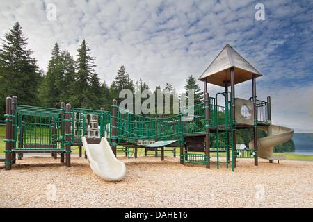 Childrens Playground at Lake Merwin Park Along Lewis River in Washington State - Stock Photo