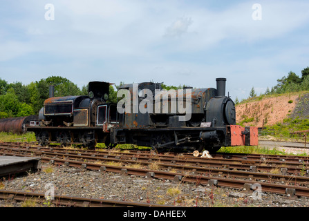 Two derelict industrial steam locomotive engines awaiting restoration at Beamish Museum of Northern Life - Stock Photo
