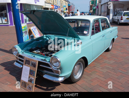 Restored 1966 Ford Cortina Mark 1 motor car on show in Redcar High Street - Stock Photo
