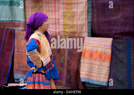 Flower Hmong women at Bac Ha Sunday market. Lao Cai Province, Northern Vietnam - Stock Photo