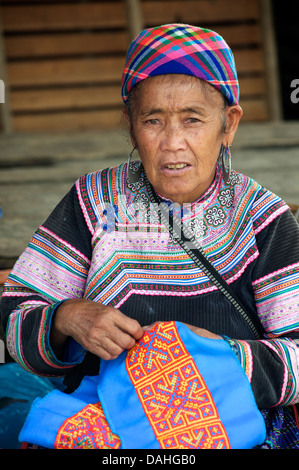 Potrait of a Flower Hmong woman in her brightly embroidered tribal costume, Bac Ha, N. Vietnam - Stock Photo