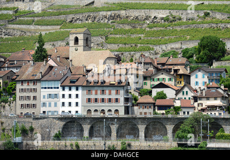The small village of Saint Saphorin is situated at Lake Leman - Stock Photo
