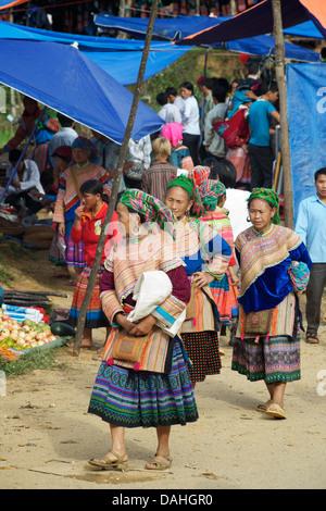 Flower Hmong women at hilltribe market, Coc Ly, Vietnam - Stock Photo