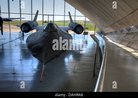 Lockheed SR-71 'Blackbird' at the American Air Museum at the Imperial War Museum at Duxford. - Stock Photo