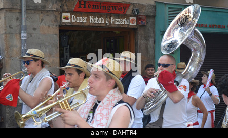 A band of Musicians playing in the streets at the San Fermin festival, Pamplona, Spain. - Stock Photo