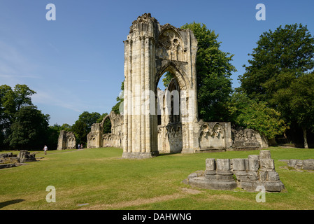The ruins of St Marys Abbey in Museum Gardens in York city centre UK - Stock Photo