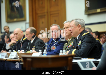 U.S. Army Gen. Frank Grass, far right, the chief of the National Guard Bureau, testifies during a House Armed Services - Stock Photo