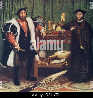 This painting, by Hans Holbein, titled The Ambassadors, is believed to represent Jean de Dinteville and George de - Stock Photo