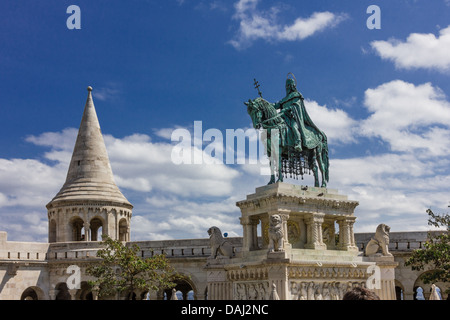 Equestrian statue of Stephen I of Hungary at the Fisherman's Bastion in Budapest - Stock Photo