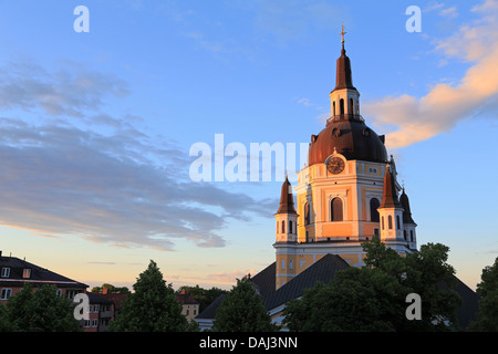 Stockholm, Sweden. View over Katarina church and roof tops on Sodermalm (Södermalm) at dusk. - Stock Photo