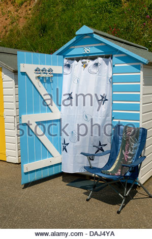 Brightly coloured beach hut on the Seafront Walk, South Devon, England