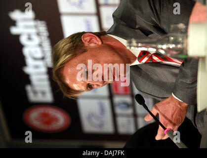 Christoph Daum is presented as new head coach of German Bundesliga soccer club Eintracht Frankfurt at a press conference - Stock Photo