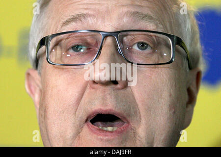 German Economy Minister Rainer Bruederle of the FDP gives a statement after the first elections forecast in the - Stock Photo