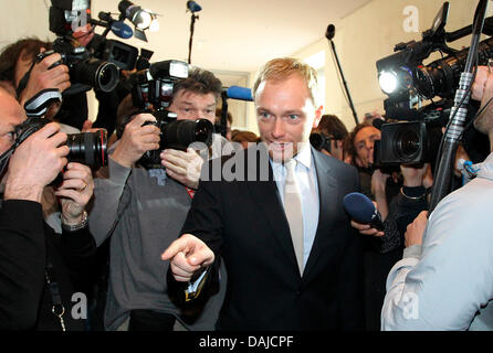 The general secretary of the Free Democratic Party (FDP) Christian Lindner arrives at the congress of the FDP board - Stock Photo