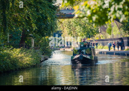 Longboat on Regent's canal, London - Stock Photo