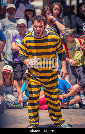 Mime actors performing at the Arts festival in Avignon, Provence, France - Stock Photo