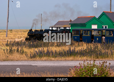 Romney Hythe and Dymchurch Miniature Steam Railway Locomotive Train Doctor Syn at Dungeness Kent UK - Stock Photo