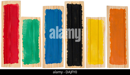 Wooden pine boards in the form of a banner handmade primitive painted in the colors of the rainbow. Isolated for - Stock Photo