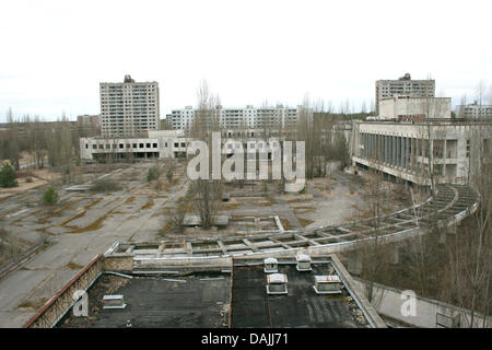 View on  the empty city centre of the closed Ukrainian city Pripjat near the prohibited area of Chernobyl, Ukraine, - Stock Photo