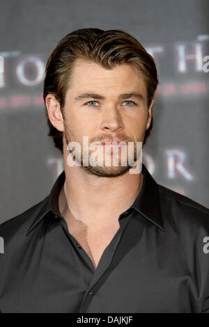 Australian actor Chris Hemsworth poses to promote the film 'Thor' at Palais Montgelas in Hotel Bayerischer Hof in - Stock Photo