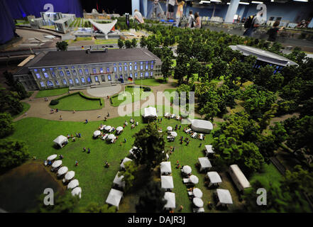 A miniature model of Bellevue Castle is presented at the miniature world 'LOXX at Alex' in Berlin, Germany, 26 April - Stock Photo