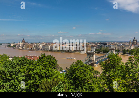 View from Buda Castle of the Danube, the Parliament and the Chain Bridge - Stock Photo