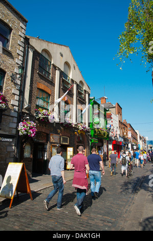 Temple Bar Square in Temple Bar entertainment area central Dublin Ireland Europe - Stock Photo