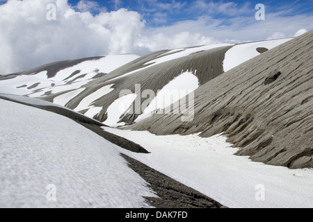 snow and volcanic ashes at Cordon Caulle, Puyehue, Chile, Patagonia - Stock Photo