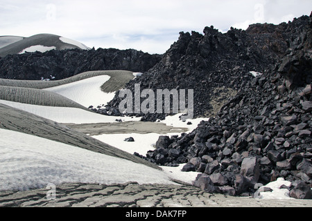 snow, volcanic ashes and lava at Cordon Caulle, Puyehue, Chile, Patagonia - Stock Photo