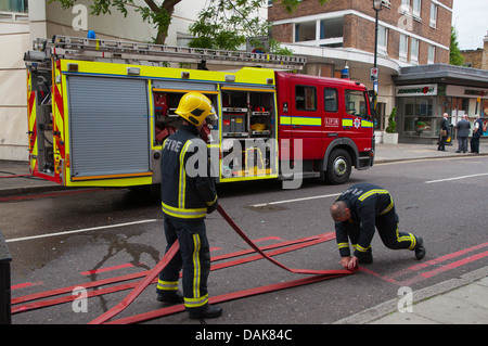 Fire brigade at work Marylebone district London England Britain UK Europe - Stock Photo