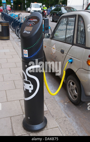 Electric car charging station or charging point Marylebone central London England Britain UK Europe - Stock Photo