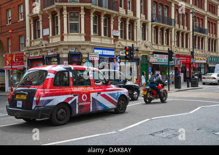 Traffic in Shaftesbury Avenue street central London England Britain UK Europe - Stock Photo