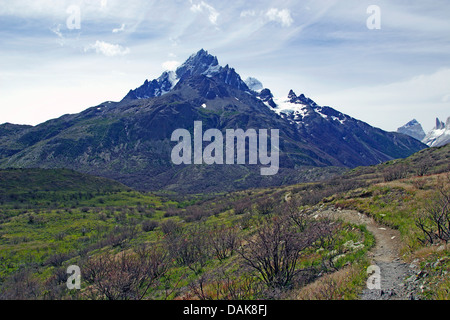 view from Refugio Paine Grande to Paine Grande, Chile, Patagonia, Torres del Paine National Park - Stock Photo